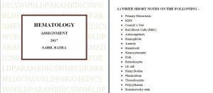 HEMATOLOGY ASSIGNMENT