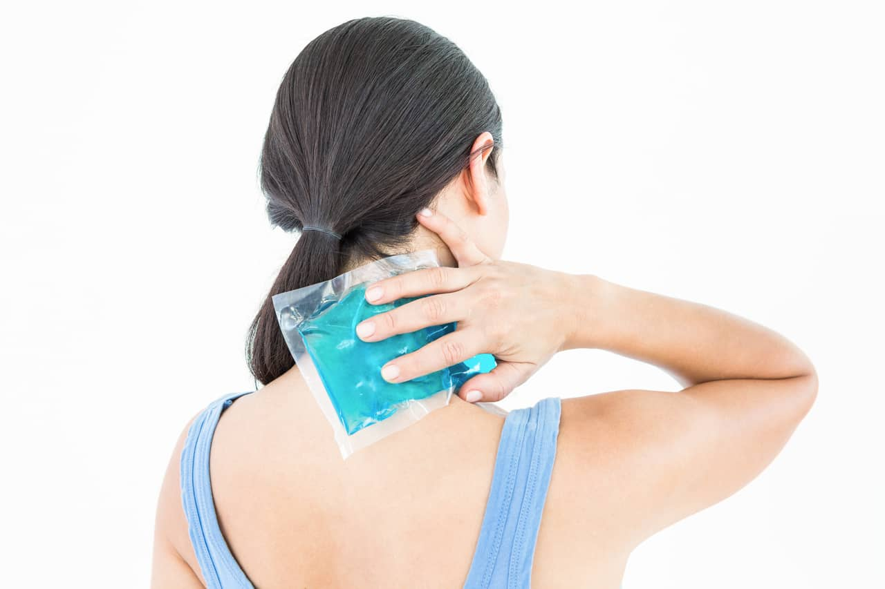 cold pack on your neck to reduce the headache